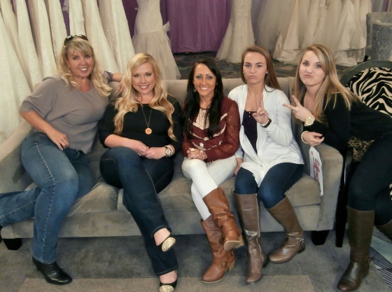 Brittnee's entourage: Teresa (mom), me (MOH), Adrienne (bridesmaid), Brooke (oldest little sister), and Taylor (youngest little sister)