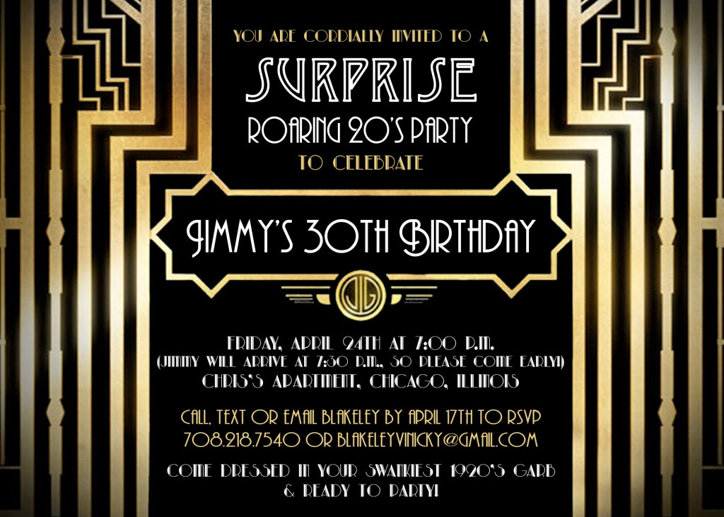 Jimmy surprise party invitation